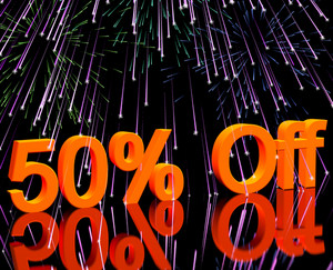 50% Off With Fireworks Showing Sale Discount Of Fifty Percent