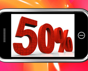 50 On Smartphone Showing Special Offers And Promotions