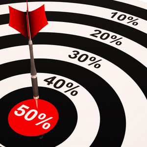 50percent On Dartboard Shows Big Savings