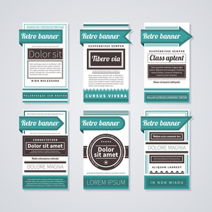 6 Vertical Retro Banners On White Background. Useful For Advertising Or Web Design.