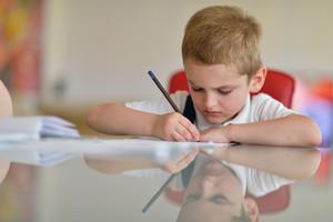 Little boy doing homework