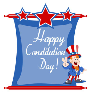 81-happy Uncle Sam Wishing  Constitution Day Vector Illustration