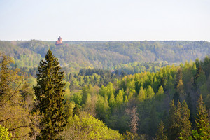 View On Turaida Castle And Gauja Valley In Spring In Sigulda