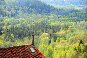 Areal View On Turaida Castle And Gauja River Valley In Spring In Sigulda