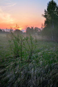 Classic Countryside Landscape Against Dramatic Sunrise
