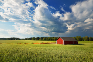 Red Warehouse In Finland In The Countryside