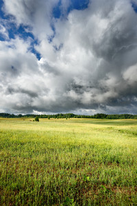 Green Field Against Dark Stormy Clouds