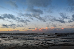 Sunset Baltic Sea Shore With A Dramatic Mood