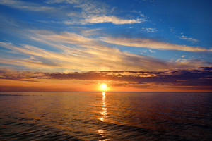 Open Baltic Sea At The Sunset