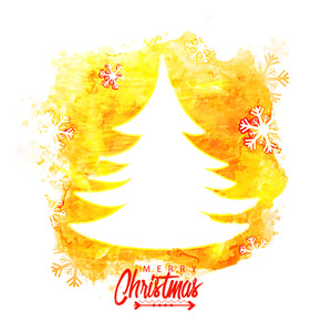 Glossy white Xmas Tree on snowflakes decorated yellow and white background for Merry Christmas celebration.