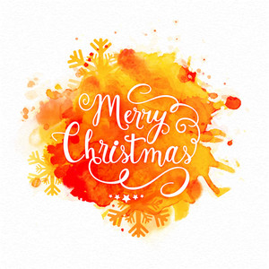 Elegant greeting card design with stylish text Merry Christmas on colorful splash background.