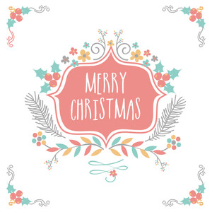Merry Christmas celebration greeting card design decorated with colorful flowers and mistletoe on white background.