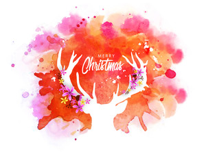 Creative white illustration of a reindeer with flowers decorated horns on abstract colorful splash background for Merry Christmas celebration.