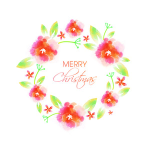 Elegant greeting card design decorated with beautiful flowers for Merry Christmas celebration.