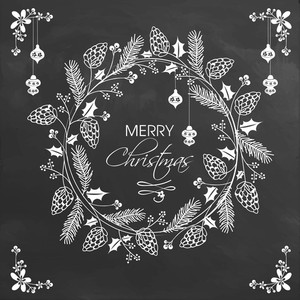 Merry Christmas celebration greeting card decorated with beautiful floral design on chalkboard background.