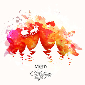Elegant greeting card design with white Xmas Trees and Santa riding on reindeer sleigh on colorful abstract background.