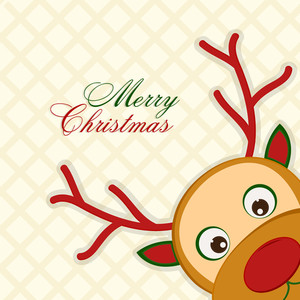 Greeting card with cute colorful Reindeer for Merry Christmas celebration.