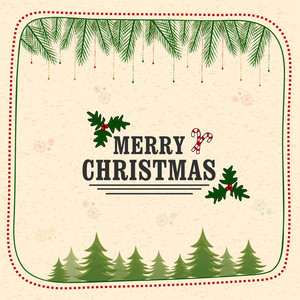 Creative ornaments decorated greeting card for Merry Christmas celebration.