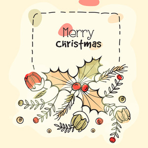 Beautiful greeting card design with colorful flowers and Mistletoe for Merry Christmas celebration.