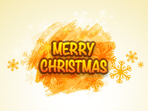 Stylish shiny text Merry Christmas on snowflakes decorated shiny background.