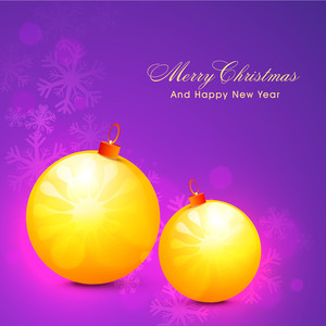 Beautiful glossy Xmas Balls on shiny snowflakes decorated background for Merry Christmas and Happy New Year celebration.