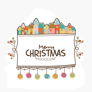 Elegant greeting card design with colorful huts and hanging snowflakes for Merry Christmas celebration.