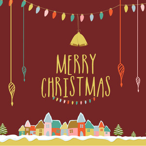 Elegant greeting card design with various colorful ornaments for Merry Christmas celebration.