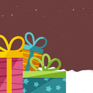 Creative colorful wrapped gifts on winter background for Merry Christmas celebration.