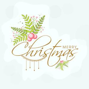 Elegant greeting card design with mistletoe for Merry Christmas celebration.