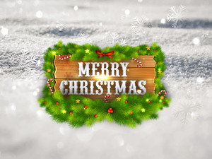 Shiny text Merry Christmas on fir tree branches decorated wooden board and snowy background.