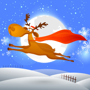 Cute jumping reindeer on snowflakes decorated full moon night background for Merry Christmas celebration.