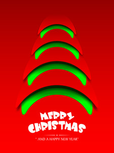 Creative Xmas Tree on shiny red background for Merry Christmas and Happy New Year celebration