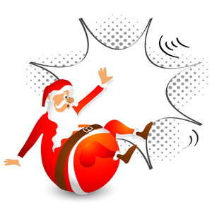 Funny Santa Claus with pop art explosion for Merry Christmas celebration.