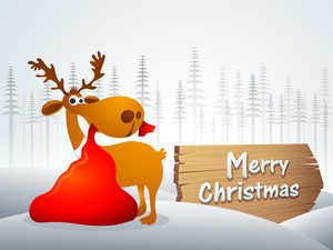 Cute reindeer holding red gift sack in mouth on fir trees decorated winter background for Merry Christmas celebration.