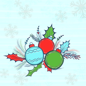 Colorful Xmas Balls with fir tree branches on Snowflakes decorated background for Merry Christmas celebration.