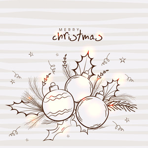 Beautiful greeting card with fir tree branches and Xmas Balls on stars decorated background for Merry Christmas celebration.