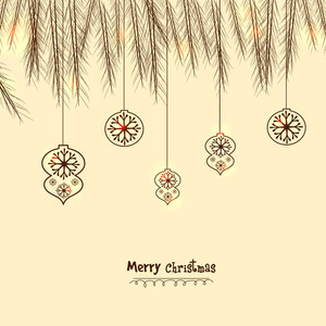 Fir tree branches and Xmas Balls decorated greeting card design for Merry Christmas celebration.