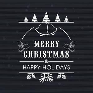 メリークリスマスとハッピーニューイヤーのお祝いのための灰色の背景上の創造的な装飾が美しいグリーティングカード。