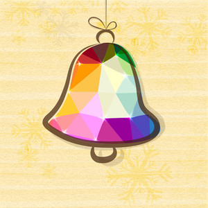 Creative colorful origami Jingle Bell hanging on Snowflakes decorated background for Merry Christmas celebration.