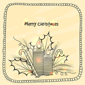 Beautiful greeting card design with candy cane