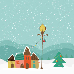 Colorful creative huts with Xmas Tree and Jingle Bells on winter background for Merry Christmas celebration.