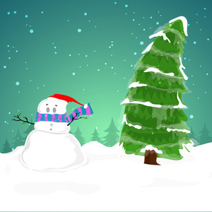 Cute creative Snowman in Santa cap with Xmas Tree on winter background for Merry Christmas celebration.