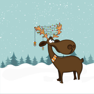 Cute funny Reindeer with colorful lights on creative winter background for Merry Christmas celebration.