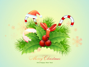 Creative elegant greeting card design with glossy ornaments on Snowflakes decorated background for Merry Christmas and Happy New Year celebrations.