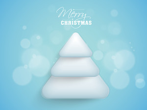 Creative stylish Xmas Tree on shiny blue background for Merry Christmas celebration.