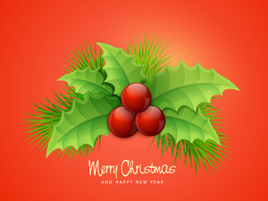 Glossy beautiful greeting card design with Mistletoe on orange background for Merry Christmas and Happy New Year celebrations.