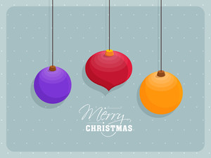 Greeting card design with creative colorful Xmas Balls for Merry Christmas celebration.