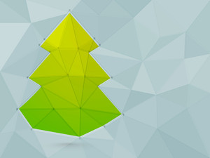 Merry Christmas celebration with creative green origami Xmas Tree and space for your message.