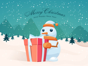 Cute Snowman holding a glossy gift on winter background for Merry Christmas and Happy New Year celebrations.