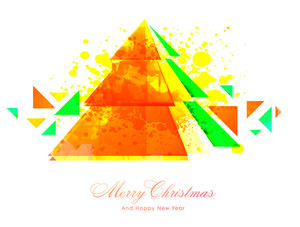 Creative abstract Xmas Tree on yellow color splash background for Merry Christmas and Happy New Year celebration.